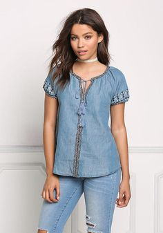 Denim Embroidered Tassel Strap Blouse - Tops - Clothes