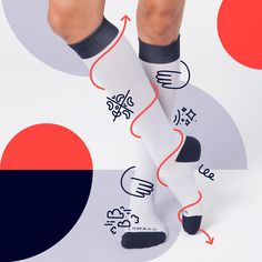 Icon, illustration, and animation design for Comrad, a premium compression sock brand. Photography Illustration, Photo Illustration, Kids Graphic Design, Sales Deck, Poster Design Inspiration, Design Ideas, Poster Layout, Novelty Socks, Designer Socks