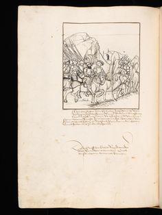 """Aarau, Aargauer Kantonsbibliothek, ZF 18, f. 220v – Werner Schodoler, Eidgenössische Chronik, Vol. 3 The Eidgenössischen Chronik/Luzerner Chronik. A manuscript by Wernher Schodoler. Made in 1513. About the Swiss wars with """"Habsburg, die Burgunderkriege, dem Schwabenkrieg und zuletzt den italienischen Feldzügen"""" http://de.wikipedia.org/wiki/Eidgen%C3%B6ssische_Chronik_%28Schodoler%29"""