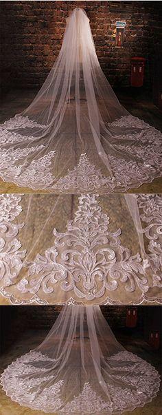 Dressesonline 3 meters Wedding Veil Beaded Wedding Bridal Veil with Comb TSD004WT