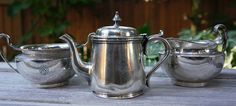 Canadian Pacific Silver Teapot, Large Cream and Sugar Canadian National Railway, Silver Teapot, Cream And Sugar, Train Travel, Antiquities, Metals, Tea Pots, Household, Restaurant