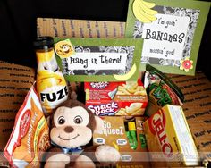 Banana themed care package- I sure do need to start doing themes!! so cute! @Leslie Lippi Brown- don't know if Marls loves bananas as much as she used to, but couldn't help thinking of her when I saw this!