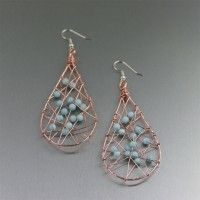 Wire Wrapped Copper Tear Drop Earrings with Amazonite. Perfection in design and color!  #7th #Wedding #Anniversary Gift Ideas  http://www.ilovecopperjewelry.com/wire-wrapped-copper-tear-drop-earrings-with-amazonite.html  $85.00