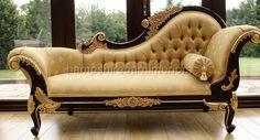 medium ornate mahogany and gold chaise longue