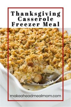 This easy Thanksgiving Casserole has all of the flavors of Thanksgiving dinner together in one easy dish! Make the most of your leftovers by putting together this freezer meal – then you can enjoy Thanksgiving dinner any time you'd like, without all the work! #freezermeals #freezerfriendly #thanksgiving #casserole #makeahead Easy Freezer Meals, Make Ahead Meals, Thanksgiving Casserole, 9x13 Baking Dish, Tasty, Yummy Food, Easy Food To Make, Foods, Dishes