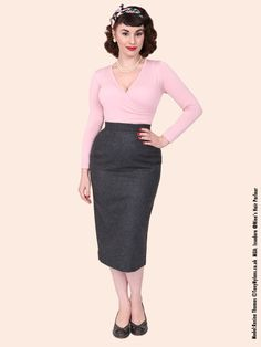Pencil Skirt Grey Flannel