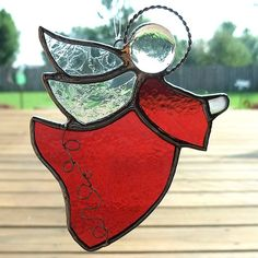 Cranberry Red Angel Stained Glass Suncatcher by GoodGriefGlass