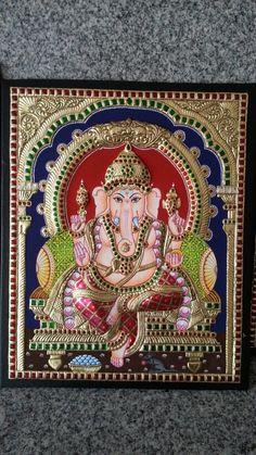 Mysore Painting, Kerala Mural Painting, Madhubani Painting, Gouache Painting, Gold Leaf Art, Ganesha Painting, Mural Art, Murals, Indian Folk Art
