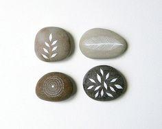 Whisper 1  Collection of 4 Painted Stones  by NatashaNewtonArt, £40.00