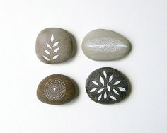 Whisper 1 - Collection of 4 Painted Stones - Minimalist Nature Art, Modern Painting - Meditation, Worry Stones - by Natasha Newton