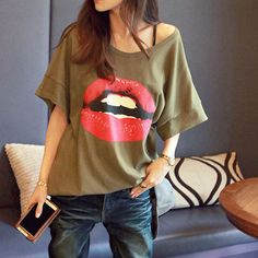 Red Lip Print Loose Fit Short Sleeve T Shirt Tops #Top #Lips #Fashion