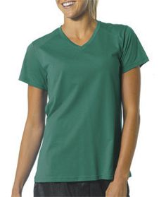 NW3232 A4 Ladies' Fusion Short-Sleeve V-Neck Tee Forest
