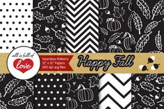 Fall Digital Backgrounds :: Black and White Patterns with leafs, pumpkins, acorns, polka dots and chevron tileable patterns You get 10 High Quality Sheets :: JPG files size 12x12 inches with 300 dpi jpg, for perfect printing or digital use. These have so many uses, they are great for scrapbooking, crafts, party decor, DIY projects, blogs, stationery & more. All patterns are original and copyrighted by All is Full of Love