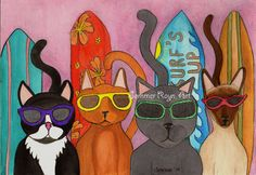 Surfs up surfing cats sunglasses with attitude by SommerRaynJones