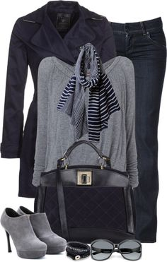 """Blue and Gray (II)"" by partywithgatsby ❤ liked on Polyvore"
