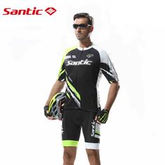 51.61$  Buy here - http://ai3uw.worlditems.win/all/product.php?id=32623619320 - Santic  Pro fit Cycling Jerseys Men Bike Cycling Sets MTB Short Sleeve Jerseys Black Cycling Sets Cycling Suit WMCT042