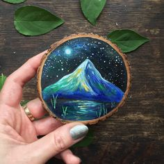 Moonlit Mountain Painting on wood / magnet by GracemereWoods