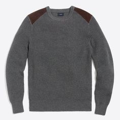 Crew - Shoulder-patch cotton crewneck sweater (any color) Cotton Sweater, Cashmere Sweaters, Crewneck Sweater, Men Sweater, Discount Mens Clothing, J Crew Style, Ponte Pants, Fashion Night, Cool Sweaters