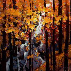 Tangled Autumn, by Michael O'Toole Canadian Painters, Canadian Art, Autumn Painting, Autumn Art, Abstract Landscape, Landscape Paintings, Abstract Art, Mosaic Tile Art, Mosaics