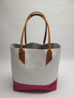 white/pink  color block tote by leighbutler on Etsy, $125.00