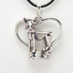 """Sterling Silver Boston Terrier Pendant w/18"""" St. Chain by Donna Pizarro fr Animal Whimsey Collection of Dog Jewelry & Boston Terrier Jewelry"""