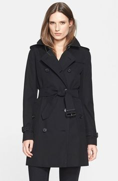 Burberry 'Kensington' Double Breasted Trench Coat - Black