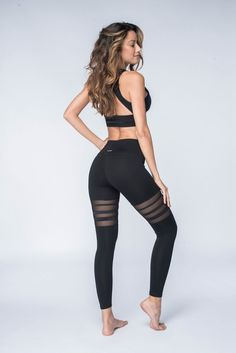 - Mesh thigh panel and tapering sized satin tapes give the illusion of length to the leg while creating an elevated & sporty look! - Pair with our Almansa Bra for the perfect set! - High waistband provides comfort and support for any active movement - Sports Leggings, Printed Leggings, Black Leggings, Women's Leggings, Cheap Leggings, Leggings Store, Ombre Leggings, Crop Top And Leggings, Mode Outfits