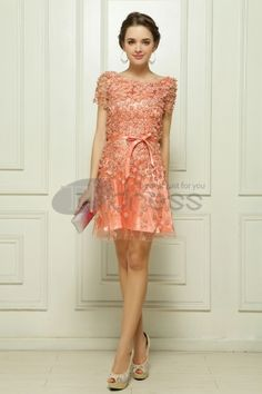 The skirt pendulum computer embroidered nail flower orange-pink cocktail dress Prom Dress 2014, Homecoming Dresses, A Line Evening Dress, Evening Dresses, Short Sleeve Prom Dresses, Short Sleeves, Chiffon Floral, Dress Bar, Robes D'occasion