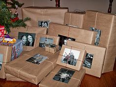 Craft paper with black and white photos and twine or colored thin ribbon.