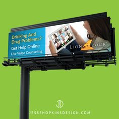 Always keep your eyes on the road when driving - BUT if you are sitting in Los Angeles traffic - keep a look out for 8 new billboards we produced for our Alcohol and Drug Recovery client Lionrock Recovery. - - Client: Lionrock Recovery Projects: Billboard, Branding, Photo Editing, Flyer - - Drinking and drug problems? Get help online. Live Video Counseling. Recovery from the privacy of your home. Individual, group and family sessions. Confidential video conferencing app. Accredited… Dont Drink And Drive, Marketing Approach, Billboard, Problem Solving, Counseling, Design Projects, Recovery, Drugs, Drinking