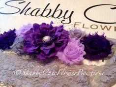 Purple Sash Belt Flower Shabby Chic Pearl by ShabbyFlowerBowtique