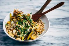 Toasted Farro Salad with Roasted Leeks and Root Vegetables