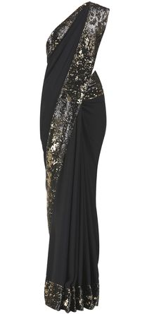 Black saree with black and gold sequins border by Pia Pauro Shop at https://www.perniaspopupshop.com/whats-new/pia-pauro-3870