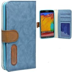 myLife Skyline Blue {Lined Design} Faux Leather (Card, Cash and ID Holder + Magnetic Closing) Slim Wallet for Galaxy Note 3 Smartphone by Sa...