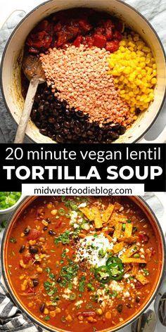 Vegan Dinner Recipes, Veggie Recipes, Soup Recipes, Whole Food Recipes, Vegetarian Recipes, Cooking Recipes, Healthy Recipes, Vegetarian Tortilla Soup, Sopa Tortilla