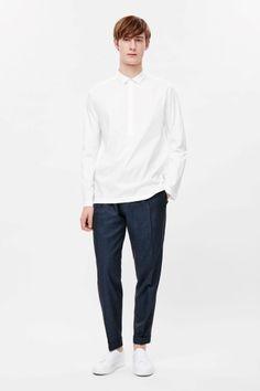 Half-placket cotton shirt