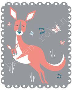 Kangaroo Illustration 8x10 Kids Print by helenrobin on Etsy, $20.00