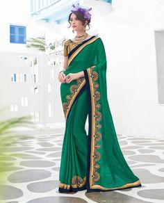 Green Satin Chiffon Party Wear Saree 79446