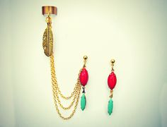 feather ear cuff with red and turquoise earrings, ear cuf with chains, tribal ear cuff, feather earrings