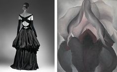 Learn more about Charles James's revolution of twentieth-century fashion. | Left: Charles James (American, born Great Britain, 1906–1978). Evening Dress, 1948. Brooklyn Museum Costume Collection at The Metropolitan Museum of Art, Gift of the Brooklyn Museum, 2009; Gift of Millicent Huttleston Rogers, 1949 (2009.300.734). Right: Georgia O'Keeffe (American, 1887–1986). Black Iris, 1926. The Metropolitan Museum of Art, New York. Alfred Stieglitz Collection, 1969 (69.278.1). #CharlesJames