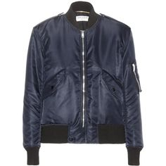 Saint Laurent Bomber Jacket ($1,175) ❤ liked on Polyvore featuring outerwear, jackets, coats & jackets, saint laurent, tops, blue, bomber style jacket, blue jackets, yves saint laurent jacket and yves saint laurent