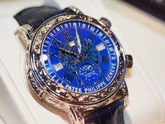 Patek Philippe Sky Moon Tourbillon by watchsta Swiss Made Watches, Swiss Army Watches, Amazing Watches, Cool Watches, Patek Philippe, Tourbillon Watch, Breitling Watches, Expensive Watches, Luxury Watches For Men