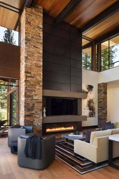 Modern Cabin Interior Design – In this modern day, we sure are dreaming about having a beautiful house. Cabin Interior Design, Modern Home Interior Design, Modern House Design, Contemporary Interior, Modern Rustic Interiors, Scandinavian Interior, Modern Fireplace, Fireplace Design, Metal Fireplace