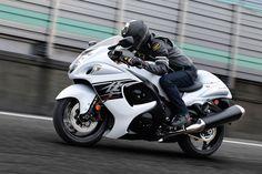 Racer on white Suzuki Hayabusa