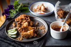 Pieces of chicken are coated with shrimp paste marinade and fried. It's definitely not your ordinary fried chicken. Shrimp Paste, Fried Chicken, Entrees, Fries, Curry, Appetizers, Ethnic Recipes, Food, Curries