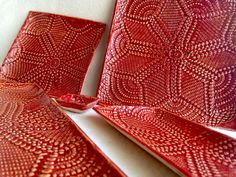 Red Pottery Set Handmade 9 piece assorted sizes by CraftyleftDee