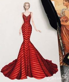 Hair drawing red fashion illustrations ideas ideas skirt design drawing fashion sketches for 2019 fashion drawing skirt Dress Design Sketches, Fashion Design Sketchbook, Fashion Design Drawings, Fashion Sketches, Dress Illustration, Fashion Illustration Dresses, Fashion Illustrations, Red Fashion, Fashion Art