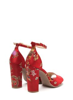 Luxe Chic Chunky Embroidered Satin Heels RED  BLACK - GoJane.com