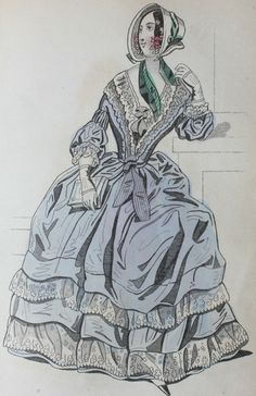 19th century lady in fashionable dress and bonnet, The Ladies Cabinet of Fashion