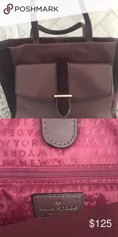 Kate spade large burgandy/wine tote Beautiful burgandy colored Kate spade large tote w/ suede and leather detail. Perfect for fall/winter. Small scratch on leather other then that perfect condition... barely carried. kate spade Bags Totes